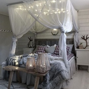 camas con cortinas romanticas con luces