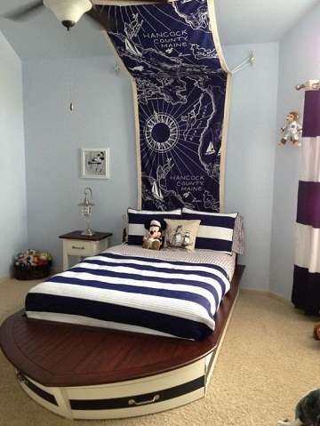diseños de camas para niños barco de madera