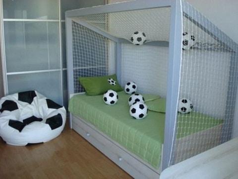diseños de camas para niños de futbol