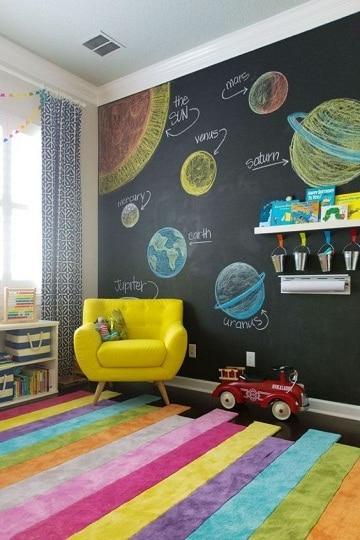 habitaciones con pared de pizarra decoracion
