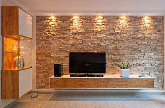paredes de piedra para salas para tv