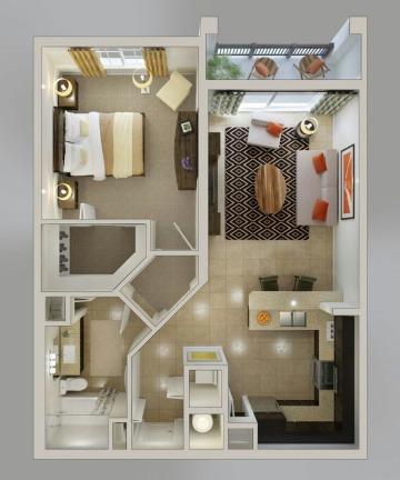 diseños de departamentos modernos pequeños