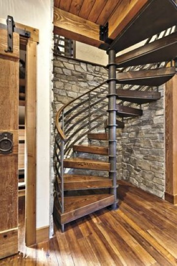escaleras de metal y madera modernas
