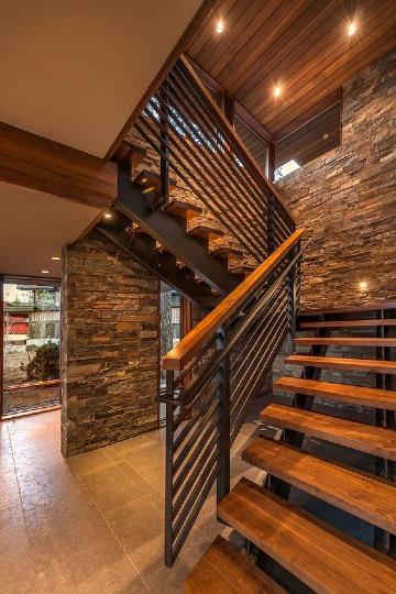 escaleras de metal y madera para casas
