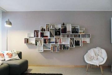 libreros de melamina modernos para sala de estar