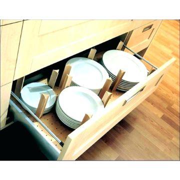 organizador de platos de madera cajon
