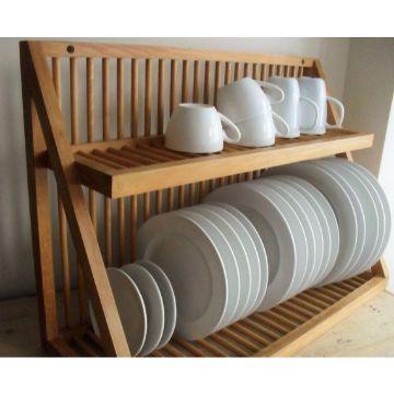 organizador de platos de madera para vajilla completa