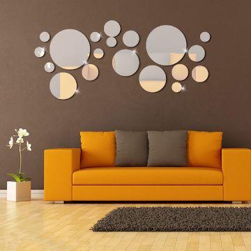decoracion con circulos en paredes espejos