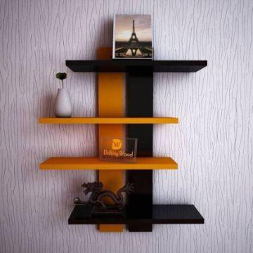 estantes de madera para libros para pared