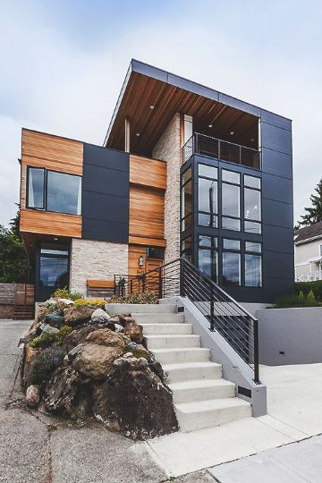 fachadas de casas de tres pisos exteriores