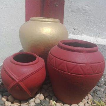 jarrones decorativos para jardin artesanales