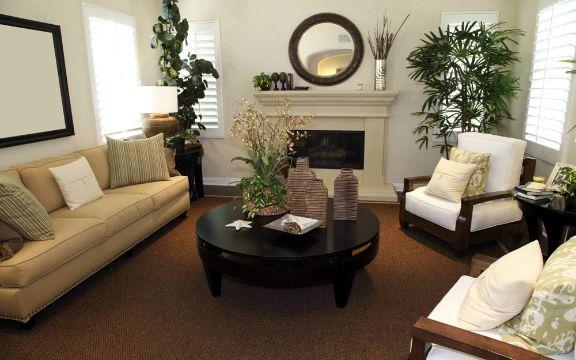 decorar la sala con plantas macetas de pie