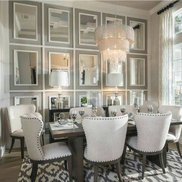 habitaciones con espejos en la pared en comedores