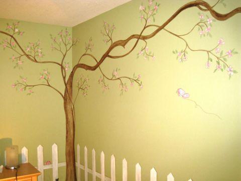 pinturas de arboles en la pared mural