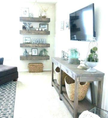 salas de estar rusticas decoradas con repisas