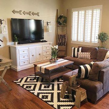 salas de estar rusticas decoradas pequeñas