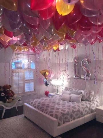 decoraciones romanticas en habitaciones con globos
