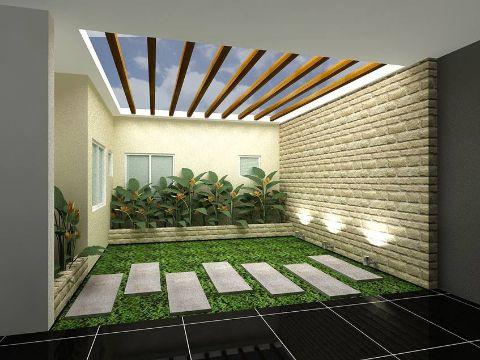 casas con jardin interior decorativos