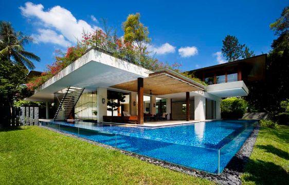 casas con piscina y jardin transparencia