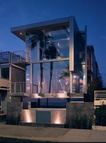 casas de playa arquitectura con cristales