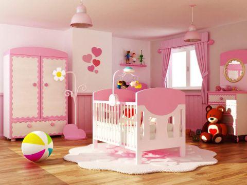 decoracion cuarto de bebe niña rosadas