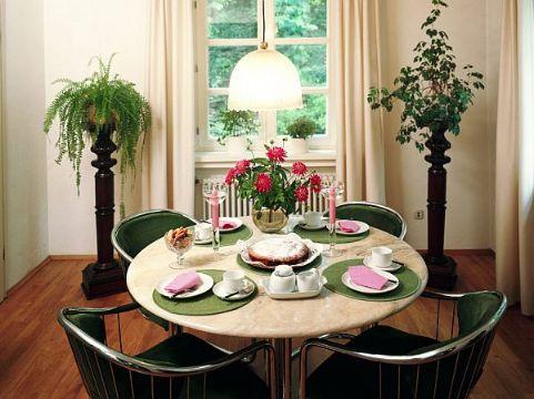 decoracion de sala comedor pequeña con plantas