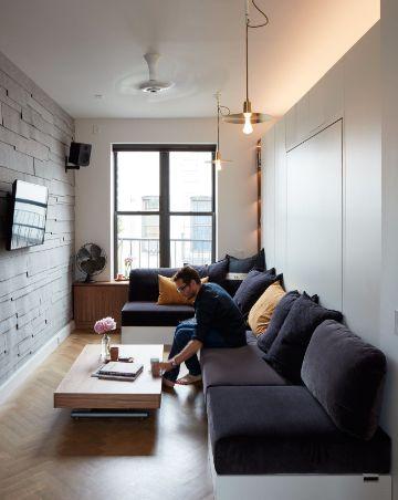 decoracion de salas pequeñas modernas rectangulares