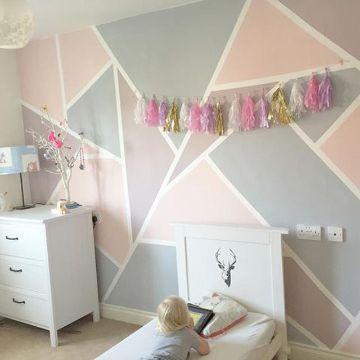 decoración para habitación de niñas muro geometrico