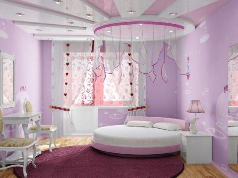 decoracion de habitaciones para niñas camas redondas