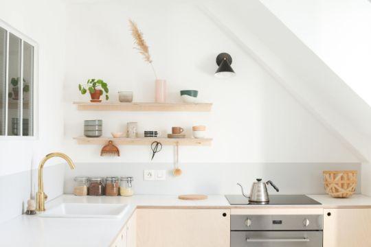 mueble de cocina con lavadero blancas