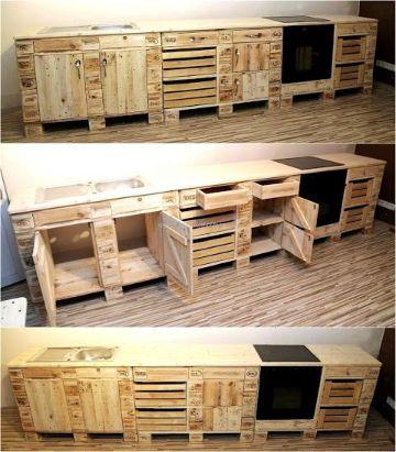 muebles hechos con palets cocinas