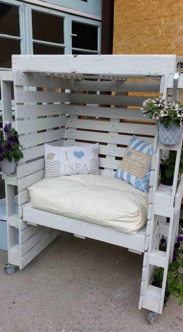 muebles hechos con palets sillones con techo