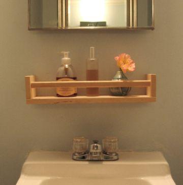 repisas de madera para el baño con espejo
