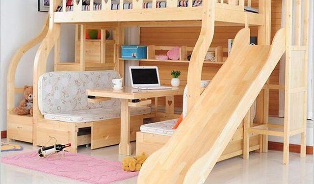 camas de madera para niños con resbaladilla
