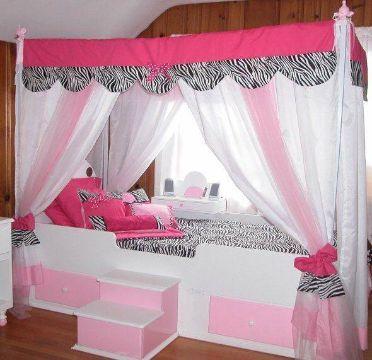 camas modernas para niñas con dosel