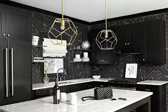 cocinas blanco con negro modernas