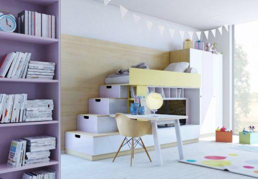 cuartos de estudio modernos y pequeños muebles