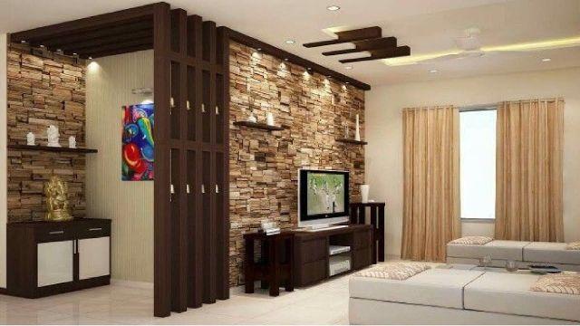 diseño de paredes para salas con laja