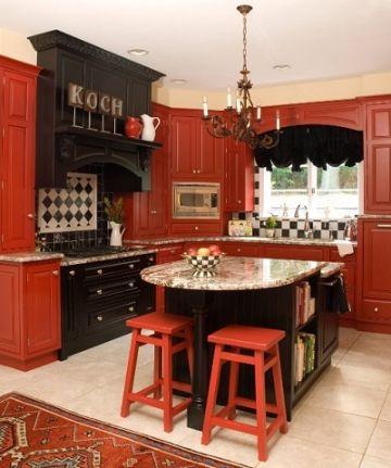 cocinas rojas con negro elegantes