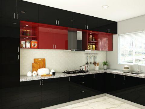 cocinas rojas con negro grandes