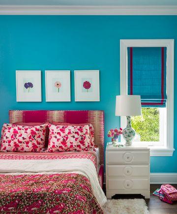 decoracion azul turquesa y rojo en recamaras