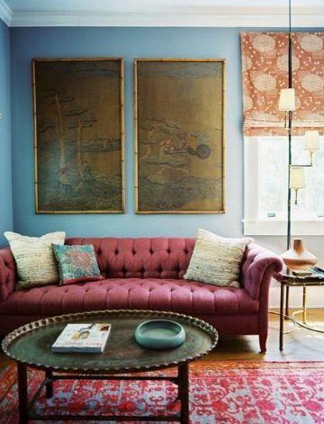 decoracion azul turquesa y rojo en salas