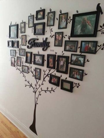 decoracion con fotos en la pared arbol genealogico