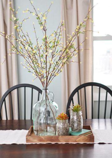 decoracion de mesas de comedor frascos rusticos