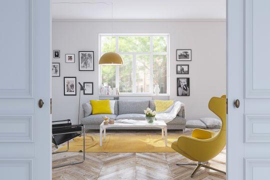 decoracion de salas en gris y amarillo detalles