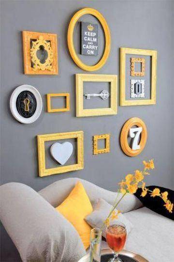 decoracion de salas en gris y amarillo en muros