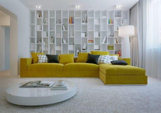 decoracion de salas en gris y amarillo muebles