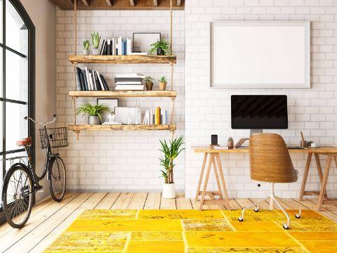 decoracion home office repisas y muros