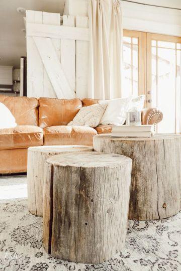 mesas de centro de madera para sala troncos
