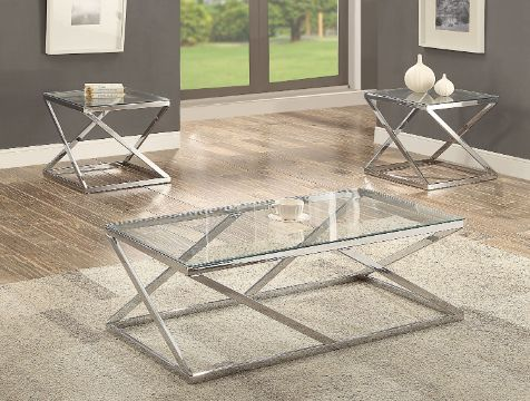 mesas de centro de sala de vidrio bases metalicas
